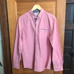 Pink Button-Down Shirt w/ Grey Accents